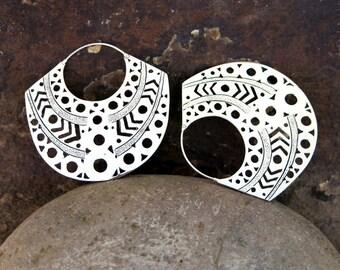 Aztec (Large) Silver Earrings