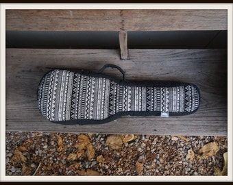 Concert ukulele case - Black and white Ukelele Case with hidden pocket (Ready to ship)