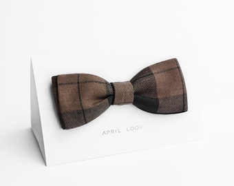 Mens bow tie, brown and black - double sided