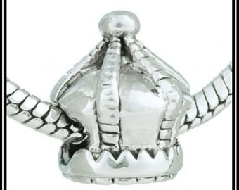 PRINCESS Crown for SPECiAL Little GiRL - Great Quality- ANTiQUE Silver Plated Charm Bead - fits European Bracelets - MS-1163