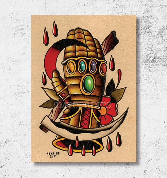 Items similar to Infinity Gauntlet Print (5x7) by Brian