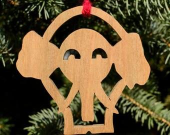 Wood Elephant Ornament, Holiday Decor, Christmas, Scrollwork, Elephant Collectible, Handmade in Ohio, Hardwood