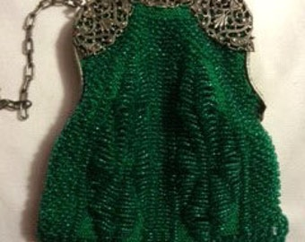 Hand Knit Beaded Emerald Purse w/ Vintage Frame