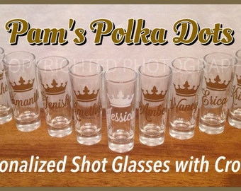 Personalized SHOT GLASS with CROWN and Name Bachelorette Birthday Wedding Party