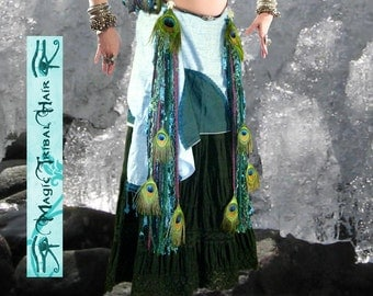 Tribal Fusion MERMAID BELLY DANCE belt: 2x peacock feather tassels/ yarn extensions/ hair falls 1x hip scarf Fantasy Larp costume accessory