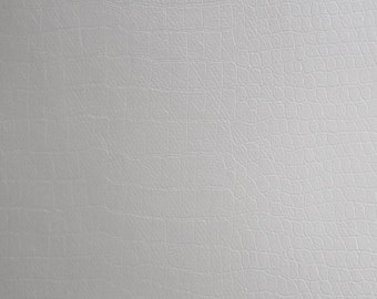"Alligator White color upholstery faux Leather Vinyl fabric by the yard 54"" Wide"