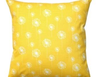 CLEARANCE Decorative Euro Sham, Corn Yellow Small Dandelion Pillow, Toss Pillows, Yellow Pillow Sham, Zippered Pillow, Cushion Cover, 26x26