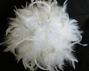 White Wedding Bridal Feather Bouquet Silver Ribbon Crystals Soft and Floaty Chandelle