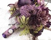 26 piece Bridal Bouquet Wedding Flower Set. 1- Bride 1- Groom 2- Maid -6- Corsage 8 Boutonniere. Plum Purple Puce Sage Green Ranunculus Rose