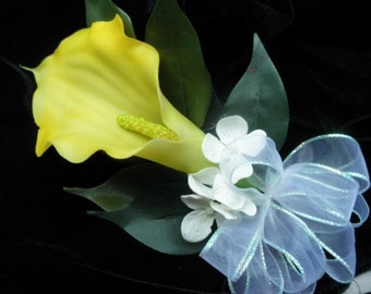Yellow Calla Silk Corsage and or boutonniere. You pick quantity. REAL TOUCH Flowers Hand tied bow.Tropical Beach Destination Wedding or Prom