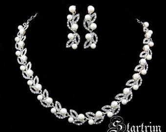Swarvoski bridal crystal pearl necklace earring set