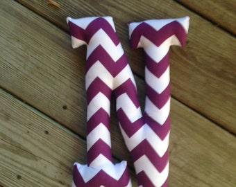 """Greek Letter Nu handmade fabric pillow white and purple chevron approx. 12""""x9"""""""
