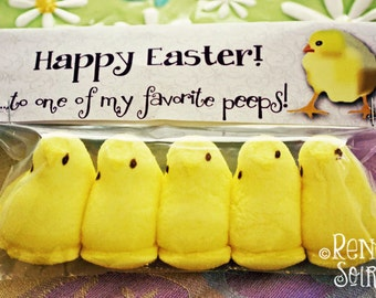 4 Printable EASTER Peeps Treat Toppers - for boys or girls. Instant Download! 4 Styles Included - Party Favor, Classroom Treat