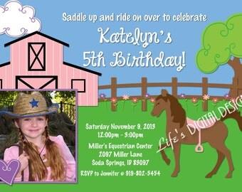 Pony Birthday Invitation Photo Option Horseback Riding Party Customizable Printable
