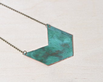 Copper Chevron Necklace Arrow Pendant
