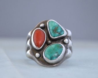 Vintage Navajo  Sterling Turquoise and Coral Man's Ring - Size 10.75