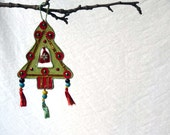 Tree ornament, embroidered tassel, Christmas, tree decoration,green and red, boho Xmas decor