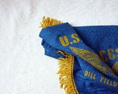 Military Souvenir Couch Throw, Blue Green , yellow eagle, yellow fringe