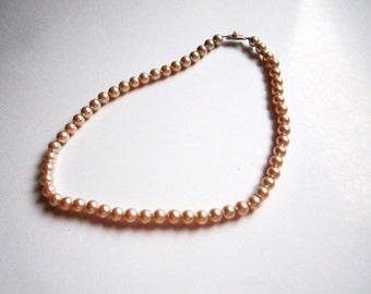 1980s Faux Pearl Choker / Bracelet - Vintage Pearl Flower Girl Necklace