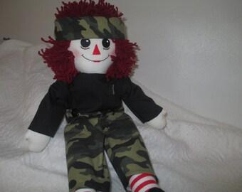 Handmade Raggedy Andy Camo Doll