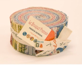 La Bouquet Francais jelly roll by the French General for Moda fabric