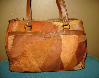 Vintage Rust Orange Leather Quilted Shoulder Bag Purse Double Straps Two Compartments