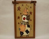 Barnyard Animals, Folk Art, Cow Sheep Pig Art, Farm Animals, Animal Art, Painting on Wood, Animal Humor