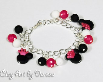 Minnie with crown charm bracelet pink or red style