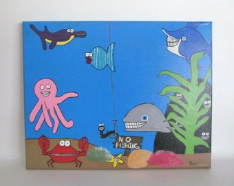 Kids Room Decor, Kids Canvas Art, Underwater Painting, Playroom Wall Art, Childrens Room Art, Playroom Art, Childrens Room Decor