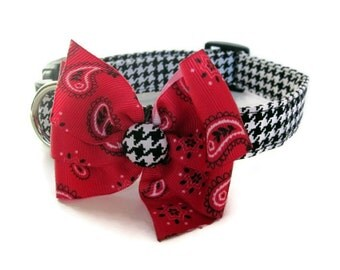 Houndstooth Check Dog Collar with Red Bandana Bow size Medium