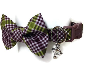 Masculine Plaid Bow Tie Dog Collar size Small
