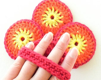 Multipurpose Dish Scrubbies With Handle - Set of 2 through 8 - Yellow, Orange and Red Nylon Scrubbie and Yarn Washcloth -
