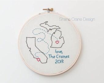 Sending Love . Custom Embroidery Hoop