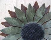 Sunflower, Metal Garden Art, Rusty Metal Sunflower wall art, flower wall hanging, teal sunflower
