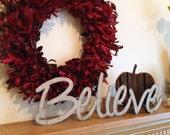 Believe word art wall hanging or shelf sitter, Metal words, Phrases, Inspirational Words, Industrial Believe, Silver Believe