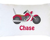 Personalized Motorcycle Pillowcase ~ Personalized Dump Truck Pillowcase~ Personalized Train Pillowcase~ Monogrammed Boys Pillowcases