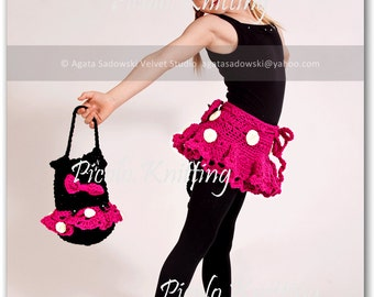 EXCLUSIVE Hand Crochet Toddler Girl Minnie Mouse 3 - pieces Outfit: Cap, Skirt and Slippers -  Pink or Red - taking orders