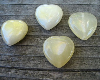 3 Yellow Aventurine Heart Beads 20mm Semi-precious Stone Pendant Beads