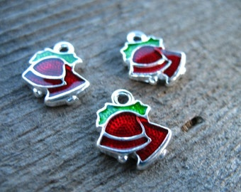 6 Enamel Bell Charms 15mm Silver with Red and Green Enamel