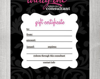Thirty One Consultants Frequent Buyer Cards Instant Download
