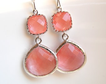 Coral Earrings, Peach Earrings, Grapefruit, Pink, Silver, Glass, Bridesmaid Jewelry, Bridesmaid Earrings, Bridal Jewelry, Bridesmaid Gift