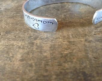 Friendship Bracelet, Hypoallergenic Silver Cuff Women, Custom Stamped Gift for Friend Mantra Bracelet, Friends Forever Quote Bracelet