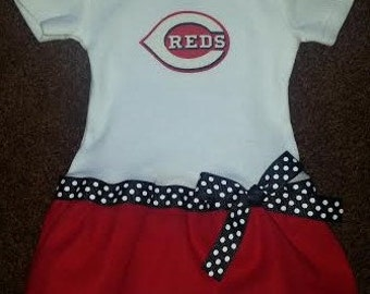 Cincinnati Reds inspired baby girl outfit