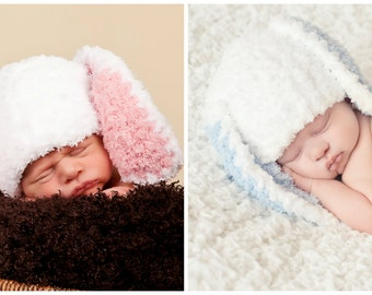 Newborn Twin Boy Girl Bunny Rabbit Hats Photo Prop Easter Spring Fuzzy White Pink Blue