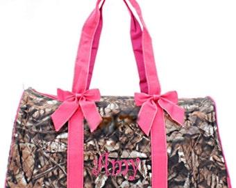 Personalized Camo & Hot Pink Duffel Bag  Dance or Overnight Bag Monogram FREE