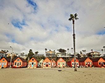 Beach photo canvas, beach print, pink orange houses Oceanside, California, tropical beach photo, palm trees photo, southern california photo