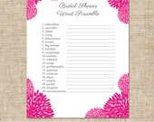 Instant Download Printable Bridal Shower Word Scramble Game