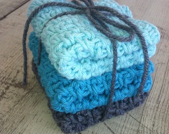 Crocheted Dish Cloths -  3 medium and double thick,  100% cotton, Tiffany blue, aqua and grey