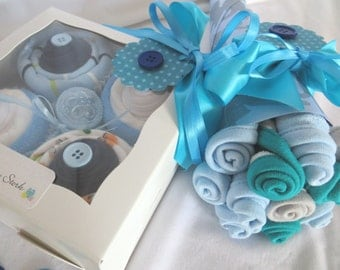 14 Piece Baby Shower Gift, Onesie Cupcakes and Washcloth Bouquet