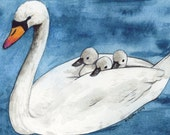 ACEO Swan with Cygnets giclée print / Art Card